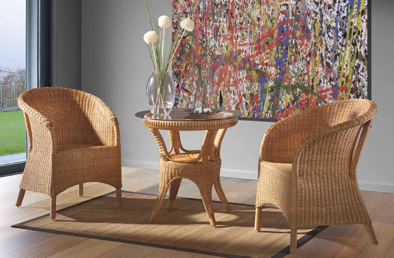 Set silla mesa elegante alava - Puff de mimbre ...