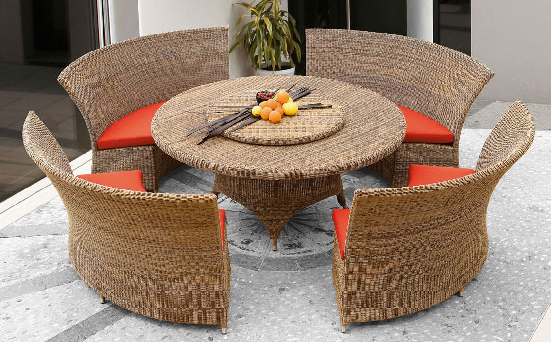 Conjunto exterior rattan sillas barcelona - Mesa redonda exterior ...