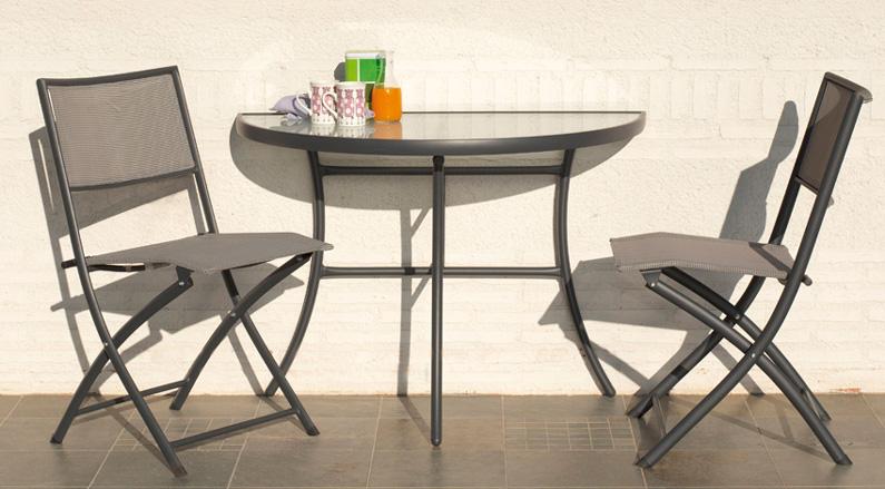 Set sillones y mesa media luna modelo Balcony - Set sillones y mesa de acero modelo Balcony