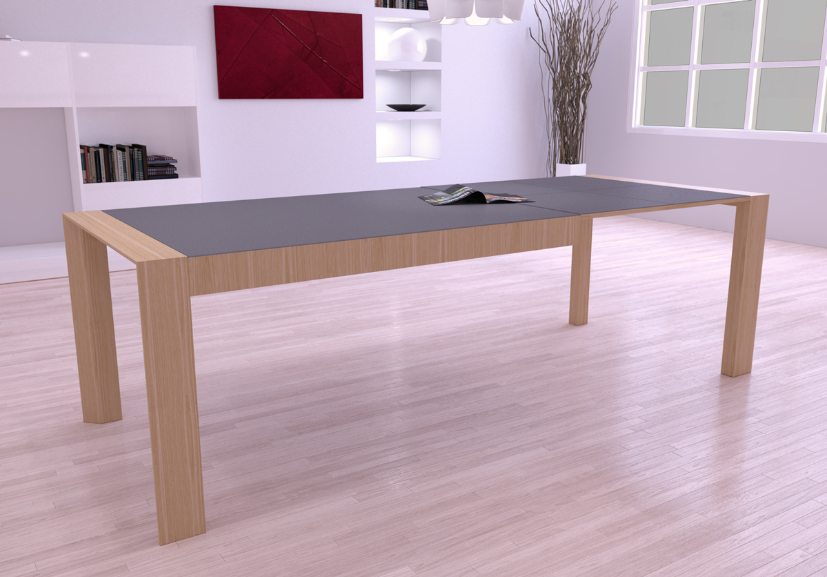 Mia home mesa extensible en madera natural for Mesa comedor ceramica
