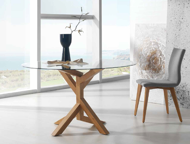 Mesa de comedor redonda Tree Wood - Mesa de comedor redonda patas de madera