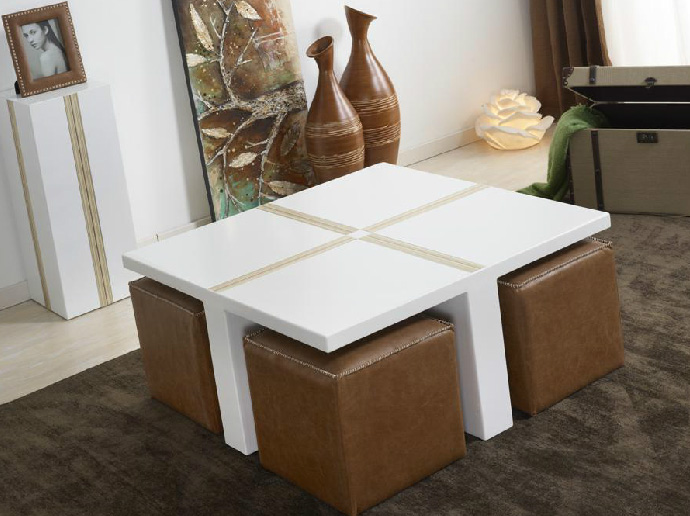 Mesa de centro blanca puff muebles madrid muebles for Mesas bajas de salon