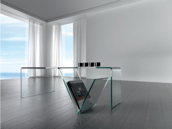 Mesa de centro de cristal con revistero - Mesa baja de salon de cristal con revistero en forma de V