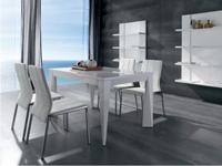 Mesa de comedor extensible - Mesa de comedor extensible con patas de forma irregular.