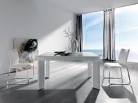 Mesa de comedor con superficie de cristal - Mesa de comedor con tapa de cristal curvo