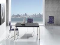 Mesa extensible con tablero de cristal cuadriculado  - Mesa de comedor extensible con tablero de cristal cuadriculado