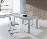 Mesa de comedor extensible moderna - Mesa de comedor extensible con tablero de cristal