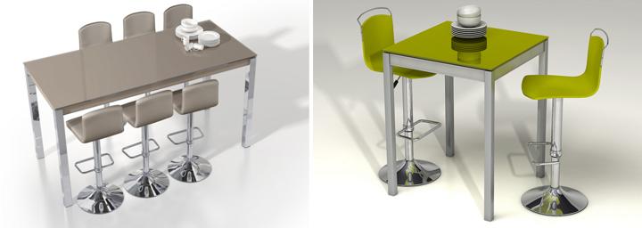 Mesa alta con taburetes ideal para cocina y comedor for Mesas de comedor altas
