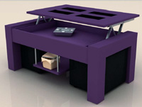 Mesa de centro con tablero elevable colorida elevable - Mesa de centro colorida con puff