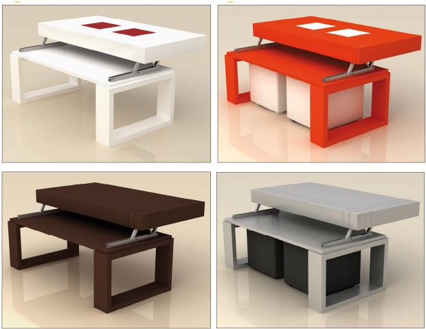 Fresca y exclusiva mesa baja con tablero elevable y puffs for Mesa centro puff