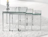Mesa nido set de 3 - Mesa nido de metal y cristal