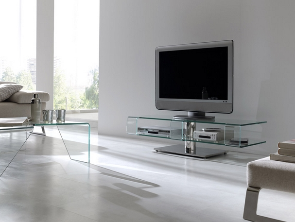 mueble bajo de cristal para tv