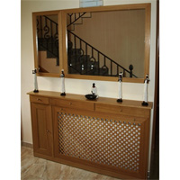 Recibidor cubreradiador con cajones y espejo. - Recibidor y cubreradiador con cajones y espejo.