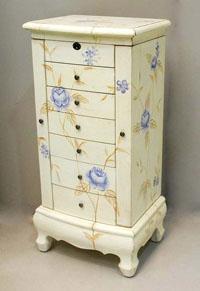 Joyero de pino blanco crudo CARPE - Joyero de pino con detalles de flores blanco y marrón CARPE