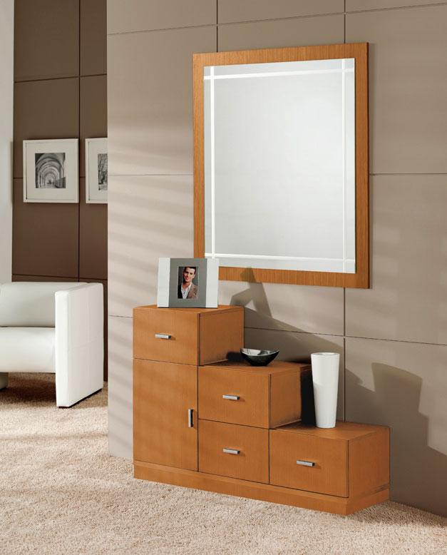 Consola y espejo de chapa Roble 13 - Consola y espejo de chapa de Roble