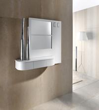 Consola con cajón giratorio y espejo  - Consola elegante con cajón giratorio y espejo en una sola pieza.