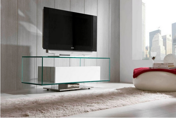 Mesa ancha de cristal para TV - Mesa baja de cristal para televisión con cajón incluido