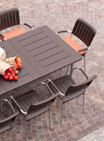 Set de mesa de comedor con tablero resina y estructura aluminio - Juego comedor mesa tablero resina estructura aluminio, Diseño cuadrado o rectangular extensible