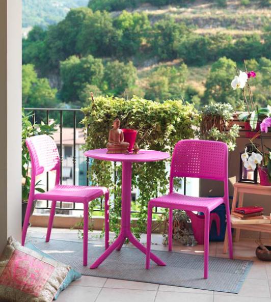 Comedor mesa redonda sillas resina polipropileno for Sillas de resina carrefour