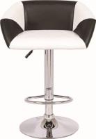Taburete tapizado blanco y negro - Taburete de diseño, regulable, cromado, tapizado combinado blanco - negro. Sillón a juego