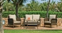 Set de sofás para exterior - Set compuesto por un sofá de dos plazas, dos sillones, una mesa de centro y cojines.