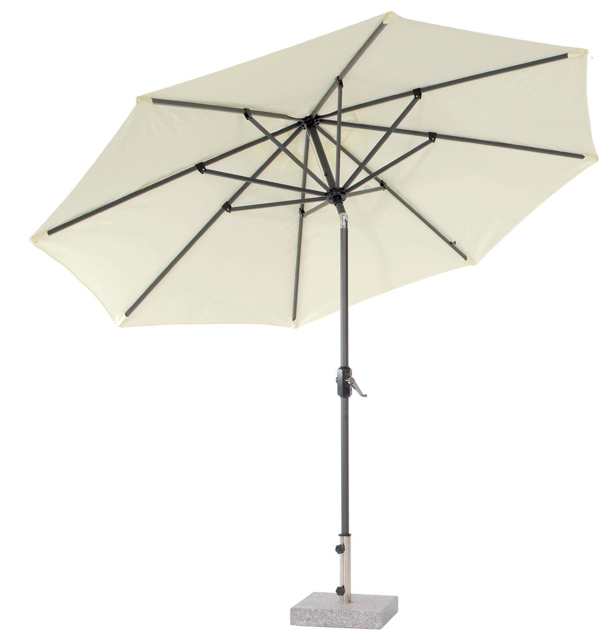 Parasol de lujo con palo central Aukland - Inclinable varias posiciones, elevable con manivela