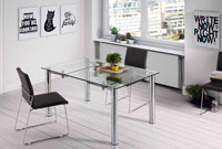 Mesa de comedor extensible o fija con estructura de metal cromado 3 - Disponible en 2 medidas