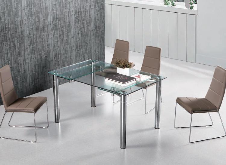 Mesa comedor extensible metal cromado tablero cristal for Mesa comedor 90x90