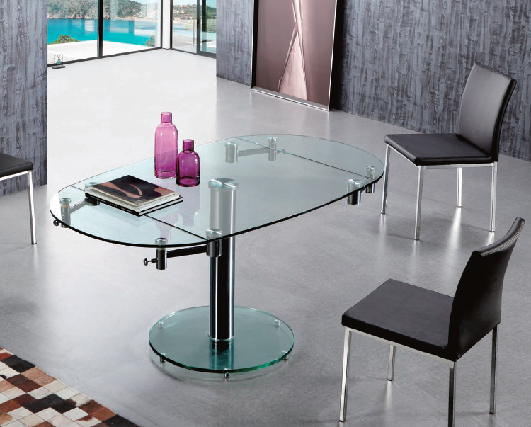 Mesa comedor cuadrada extensible tablero cristal for Mesas de cristal extensibles para comedor