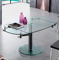 Mesa de comedor extensible con forma cuadrada/eliptica 4 - Extensiones laterales semicirculares, metal cromado