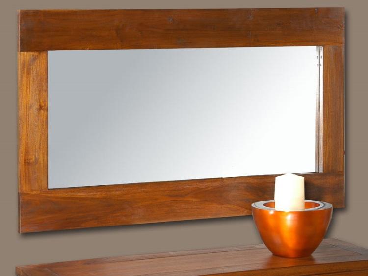 Espejo de pared con marco de madera - Espejo de pared con marco de madera de acacia