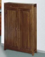 Zapatero de madera - Zapatero de madera con dos puertas y dos cajones