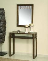 Recibidor con espejo colonial - Recibidor de madera de acacia con espejo estilo colonial