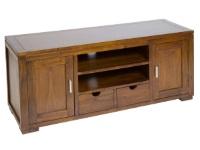 Mesa TV de acacia - Mesa de TV de acacia con dos puertas