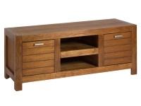 Mueble de TV con puertas - Mesa de TV de madera de mindi con dos puertas