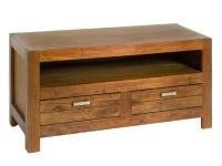 Mueble de TV con cajones - Mesa de TV de madera de mindi con cajones