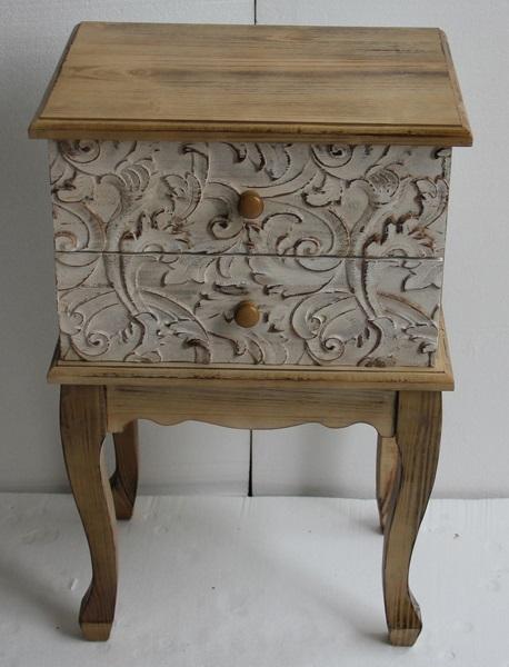 Mesilla de madera con dos cajones - Mesilla con dos cajones de madera tallada