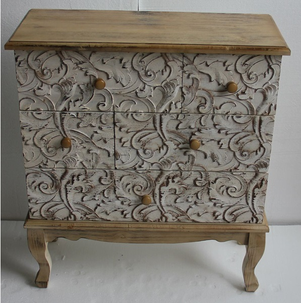 Cómoda de madera con 5 cajones - Mueble de madera de pino con 5 cajones