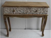 Recibidor de madera con dos cajones - Mueble de madera con 2 cajones