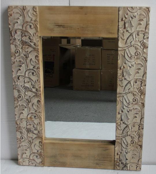 Espejo con marco de madera natural - Espejo con marco de madera natural