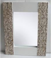 Espejo con marco blanco de madera natural - Espejo con marco blanco de madera natural