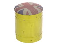 Puff metalico amarillo con tapa UK - Puff metalico amarillo fabricado en metal