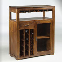 Mueble bar colonial - Botellero, vitrina, cajón