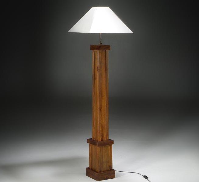 L mpara de suelo de madera estilo r stico - Lampara de pie con mesa ...