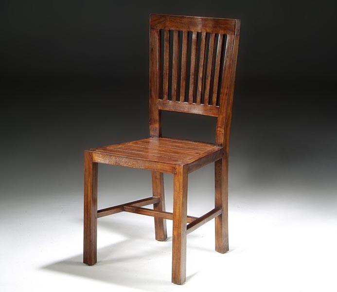 Silla comedor madera estilo colonial respaldo de barrotes for Estilos de sillas para comedor