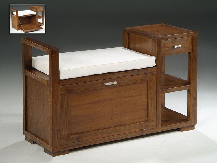 Banco madera dormitorio estilo colonial for Mueble para guardar zapatos madera