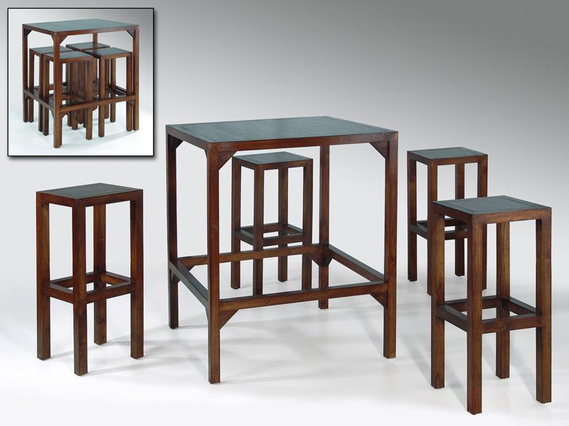 Juego comedor de mesa y 4 taburetes de madera for Comedor con taburetes