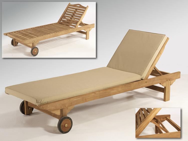Tumbona y sillas de Teka reclinables para jadines y terrazas