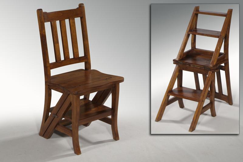 Pr ctica silla de madera convertible en escalera for Silla escalera plegable planos