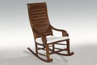 Silla mecedora de teka con cojín - Preciosa y cómoda silla mecedora de teka